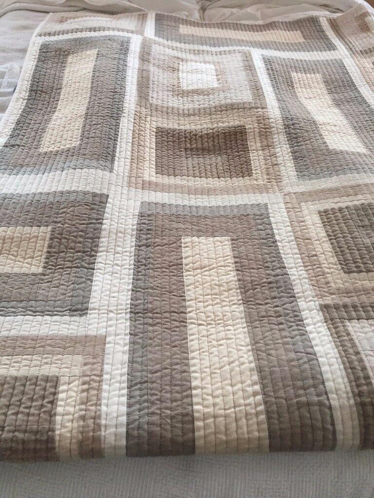 John Lewis large bedspread, cream/beige 2x2.6m cotton/silk/linen excellent condition, heavy