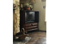 Solid Oak reproduction TV cabinet with Sony Bravia TV included. Retracting doors, space for DVD etc.