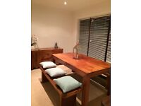 2 wooden dining room benches