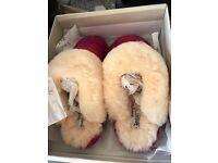 Bedroom athletics Harris tweed sheepskin slippers. Size m