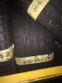 225/45/17 Runflat Bridgestone tyres x2