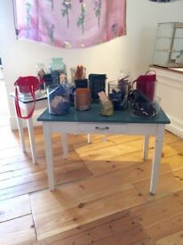 1950s Blue Formica Kitchen Table or Desk With Drawer