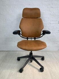 Humanscale Freedom Highback Headrest Office Chair Distressed Brown Leather
