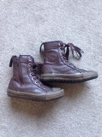 Brown leather converse boots size 12 (child)