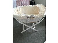 Cream wicker Moses basket with stand