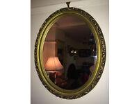 Stylish Ornate Gilt Carved Antique Oval Mirror Gold Wood Frame