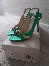 Jimmy Choo emerald green Heron sling back shoes