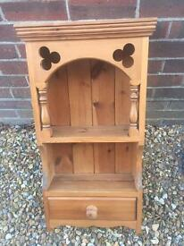 Solid chunky pine wall display cabinet