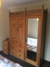 Genuine antique pine wardrobe, dressing table, bedside cabinet, made in London pre 1907. Rare.
