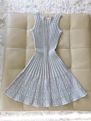 Nwt  2085 Azzedine Alaia Light Blue Knit Motif Dress 38