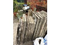 Concrete paving slabs, various sizes, 17 in total