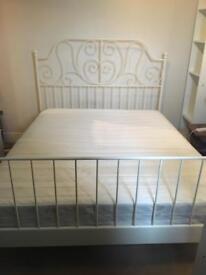 Continental king size Ikea Leirvik bed and hagavik pocket sprung mattress