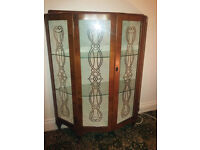 China cabinet with gorgeous design on glass fronted doors - has key!