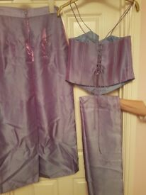 Lilac ladies formal / prom corset top, skirt and sash