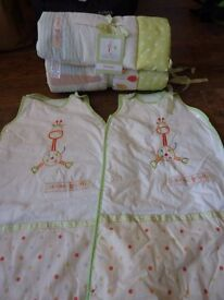 Cot bumper and 2 sleeping bags