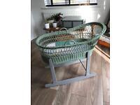 Sage wicker Moses basket / Crib with grey rocking base