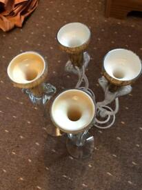 4x Glass candle holders