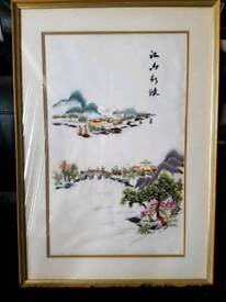 """ORIENTAL(japanese) SILK STITCHED LANDSCAPE PICTURE 28"""" by 19"""" - redecorating."""