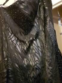 Black sparkly strapless evening dress