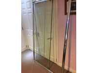 POLISHED ALUMINIUM SHOWER ENCLOSURE 1200MM WIDE SLIDING DOOR.