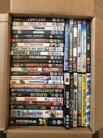 Job Lot of 72 DVD's including box sets: limitless, inbetweeners, prison break