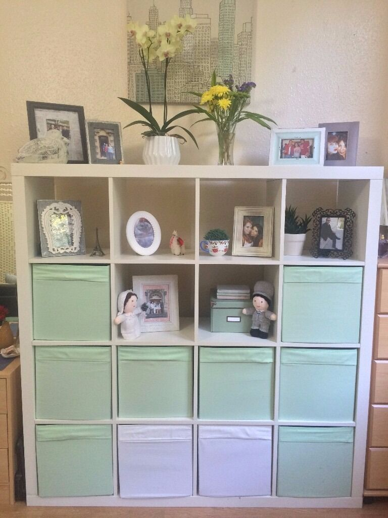 ikea kallax 4x4 shelving unit in white with 10 drona boxes 25 in earls court london gumtree. Black Bedroom Furniture Sets. Home Design Ideas