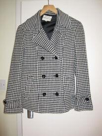 Ladies' B&W checked wool coat by Miss Paris
