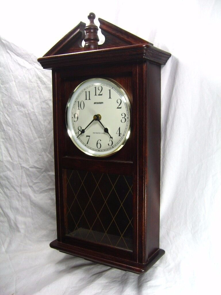 Stunning large antique style wall clock pendulum westminster stunning large antique style wall clock pendulum westminster chimes wood case bargain working amipublicfo Image collections