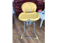 Graco high chair with table yellow
