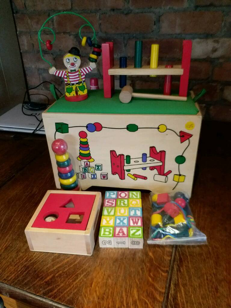Wooden Toy Box and Toys
