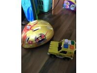 Fireman Sam helmet and car