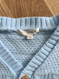 Baby blue Mintini Baby cardigan 3 months