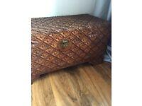 Solid carved wood blanket storage box