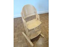 Babydan Wooden High Chair - natural wood colour, adjustable height