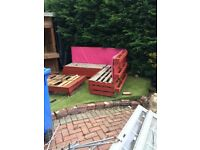 Wood - old shed, pallets made into garden furniture