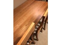 8 Seater Solid Oak Dining Table and Chairs