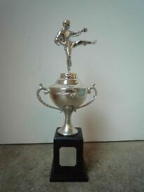 """Silver chromed fighter cup with a silver plaque with the word """"Thug""""."""