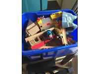 Large box of Brio and compatible trains and tracks