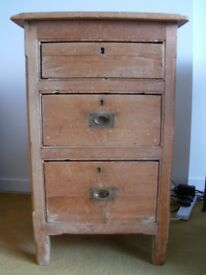 Antique pine 3 drawer small telephone unit for sale