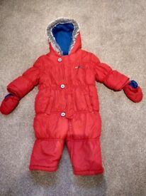 Mothercare 6-9 months red snowsuit with mittens