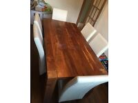 Harveys Dining Room table indian rose wood 180 x 90 cms + cream leather chairs