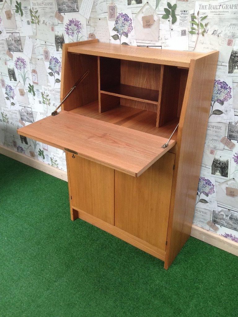 Modern Stylish Slim Teak Writing Desk Bureau Bookcase