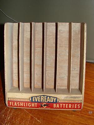 Vintage Eveready Flashlight Batteries 9 Lives Wooden Wedge Type Counter Display