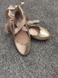 Gold Ballerina Pumps