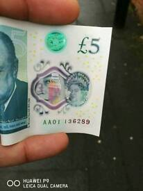 """New 5£ note ,,AA01"""""""