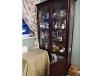 Dark wood, full height display cabinet with glass shelving, spotlights and enclosed cupboard storage
