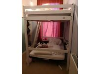 High Sleeper Bed / Children's bed, solid wood, white painted - FRAME ONLY
