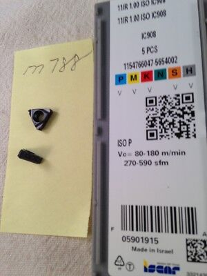 5 New Iscar 11ir 1.00 Iso Threading Carbide Inserts. Grade Ic908 M788