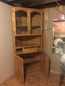 Solid oak custom made corner cabinet