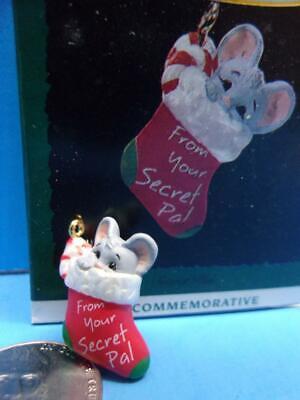Hallmark 1993 Miniature SECRET PAL Christmas Ornament Mouse in Stocking IOB ()